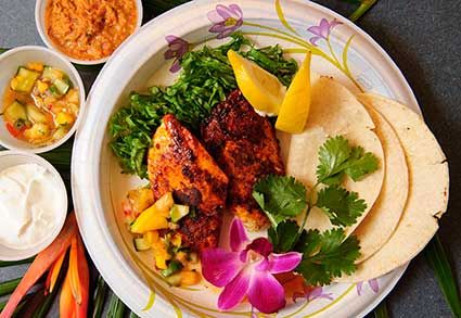 Use these easy recipes to learn how to prepare Maui Chef Christian Jorgensen's Tropical Salsa and Volcanic Spice Seasoning shown here with Chicken tacos from CJs restaurant in Kaanapali.