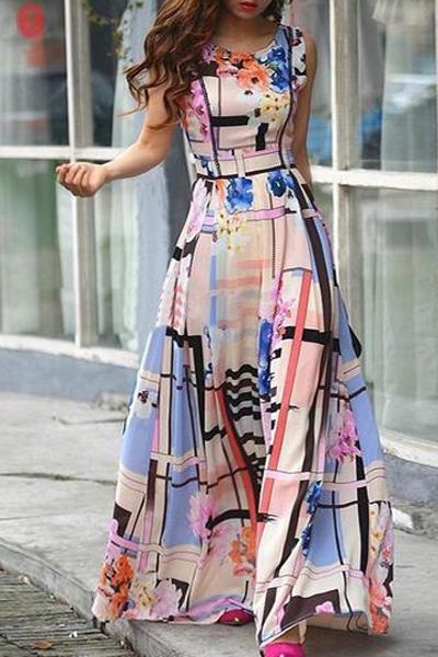 Flower Pattern Sleeveless Maxi Dress