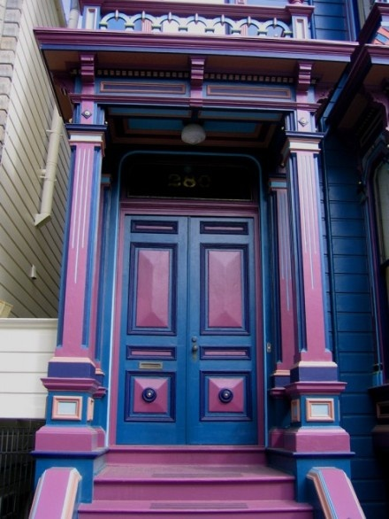 blue and lavender: The Doors, Colors Combos, Entry Doors, Blue Doors, Front Doors Design, Victorian Front Doors, Colors Doors, Purple Doors, Paintings Lady