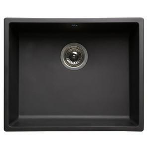 EVIER DE CUISINE Evier 1 cuve carrée en résine noire 500x400x200mm