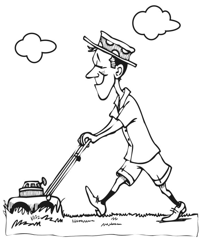 printable picture of a lawnmower summer coloring page of a man mowing his lawn