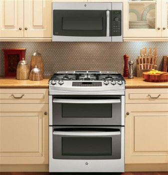 ge 30 inch slidein double oven gas range with 5 sealed burners cu convection oven btu triring burner precise simmer burner reversible castiron