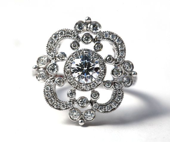 DUCHESS  14k white gold  Floral  Round Diamond by BeautifulPetra, $1500.00 I love this