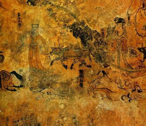 Goguryeo Tomb murales: Baquero y criada, los amantes separados por el Río de Plata  (cara sur de la Boveda) loa amntes que se reunen un solo día del año