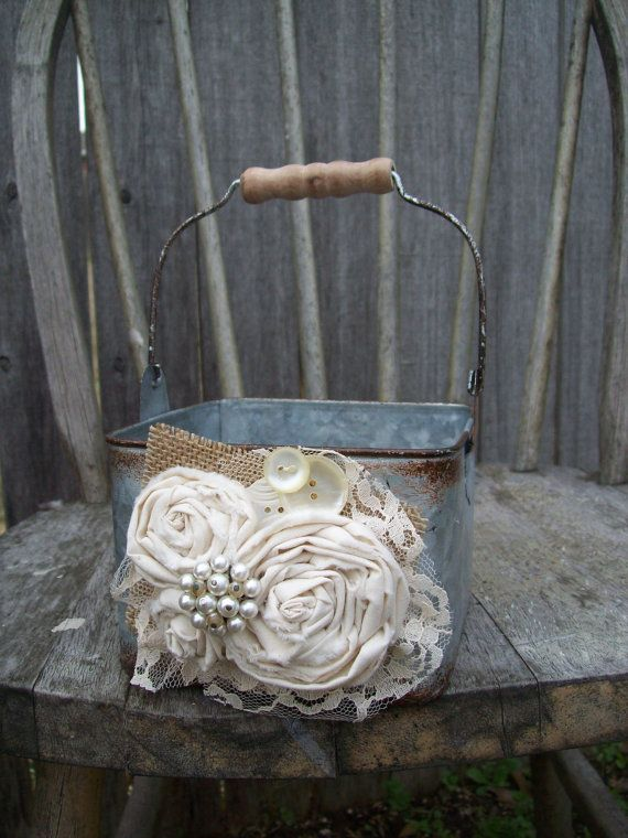Rustic Flower Girl Basket Metal Country Flower Girl by OneFunDay, $29.00