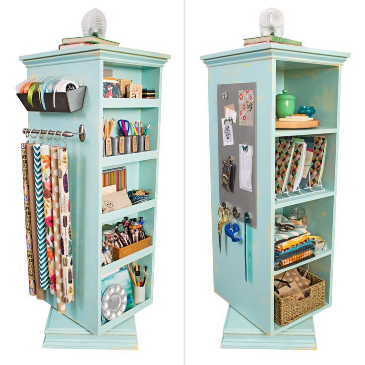 If you'd love to have an office that fits in a corner, this tower corrals desktop essentials and art supplies. -- Lowe's Creative Ideas