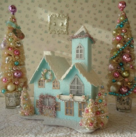 LIGHTED Shabby Aqua Christmas House w/ 3 Bottle Brush Trees