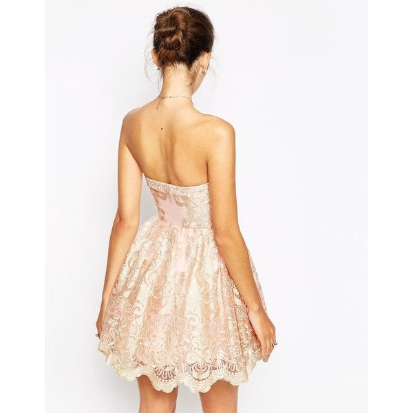 Chi Chi London Petite Embroidered Lace Bandeau Prom Dress (41 CAD) ❤ liked on Polyvore featuring dresses, cocktail prom dress, white dresses, petite prom dresses, lace cocktail dresses and embroidered prom dress