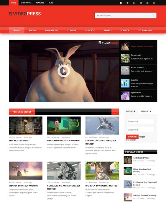 This video WordPress theme comes with support for self-hosted videos, a layout builder, a playlist builder, 100+ shortcodes, 7 preset color schemes, a responsive layout, 9 video player skins, support for 3rd party video hosting, and more.
