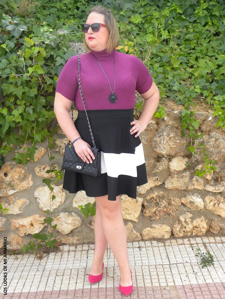 Look FALDA DE RAYAS Y BERENJENA LOS LOOKS DE MI ARMARIO. #loslooksdemiarmario #winter #primark #outfitcurvy #invierno #look #lookcasual #lookschic #tallagrande #curvy #plussize #curve #fashion #blogger #madrid #bloggercurvy #personalshopper #curvygirl #lookinvierno #lady #chic #looklady #lookblancoynegro #whiteandblack #look #outfit  #rayas #zapatos #marypaz #jersey #faldaneopreno  @zara #lookrayas #workinggirl #faldaderayas #faldacampana #yoursclothings