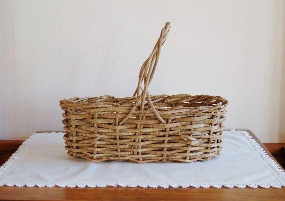 Oval Grapevine Basket, Narrow Oblong Woven Vine Basket with Handle, Flower Gathering Basket, Handmade Wicker Basket