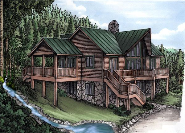 Log Cabin House Plan ID: chp-26050 – COOLhouseplan…