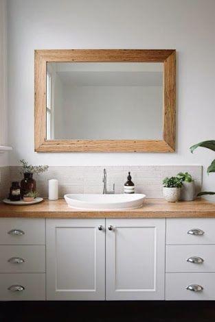 wooden benchtop bathroom - Google Search                                                                                                                                                      More
