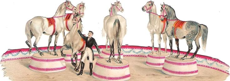 Oblaten Glanzbild scrap die cut chromo Zirkus circus 17,5cm cirque Pferd horse