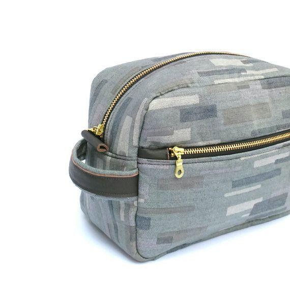 Grey Mens Toiletry Case Gray Mens Dopp Kit by OneBusySloth on Etsy