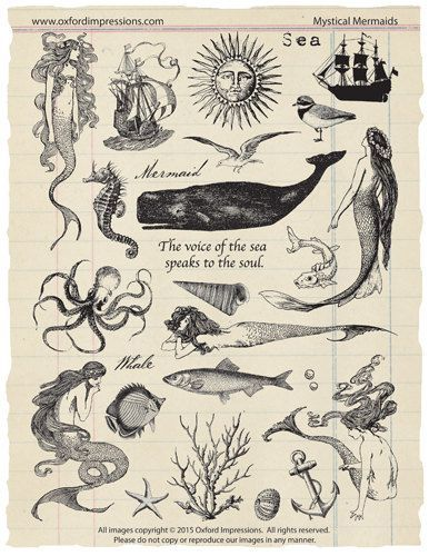 Mystical Mermaids - A collection of 26 unmounted rubber stamps with a nautical, mermaid theme. Rubber stamps are traditional red rubber and are: