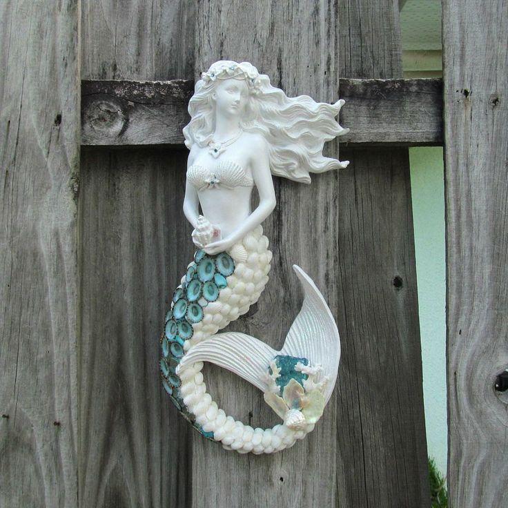 Mermaid Sculpture, Mermaid Figurine, Mermaid Wall Hanging, Seashell Mermaid, Shell Mermaid, White and Aqua, Shells and Coral, Beach Decor by SandisShellscapes on Etsy Reduced to $135