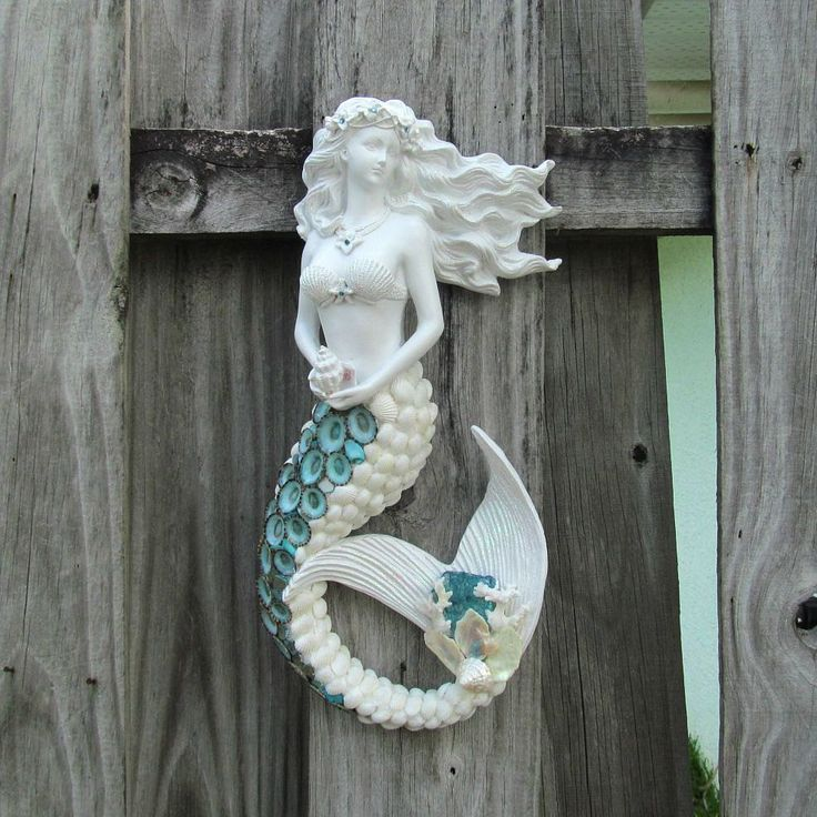 Mermaid Sculpture, Mermaid Figurine, Mermaid Wall Hanging, Seashell Mermaid, Shell Mermaid, White and Aqua, Shells and Coral, Beach Decor by SandisShellscapes on Etsy Reduced to $135