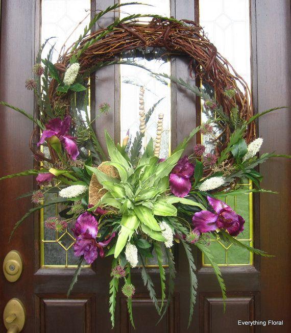 grapevine wreath flower arrangements   20% SALE on Spring Wreath Silk Flower Arrangement on Grapevine Purple ...