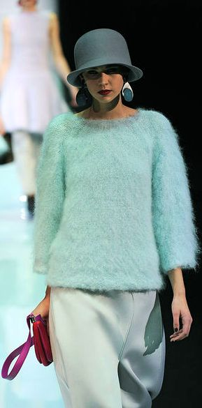 Armani... The colour is lovely, as is the mohair sweater (and hat!) < lovely also!