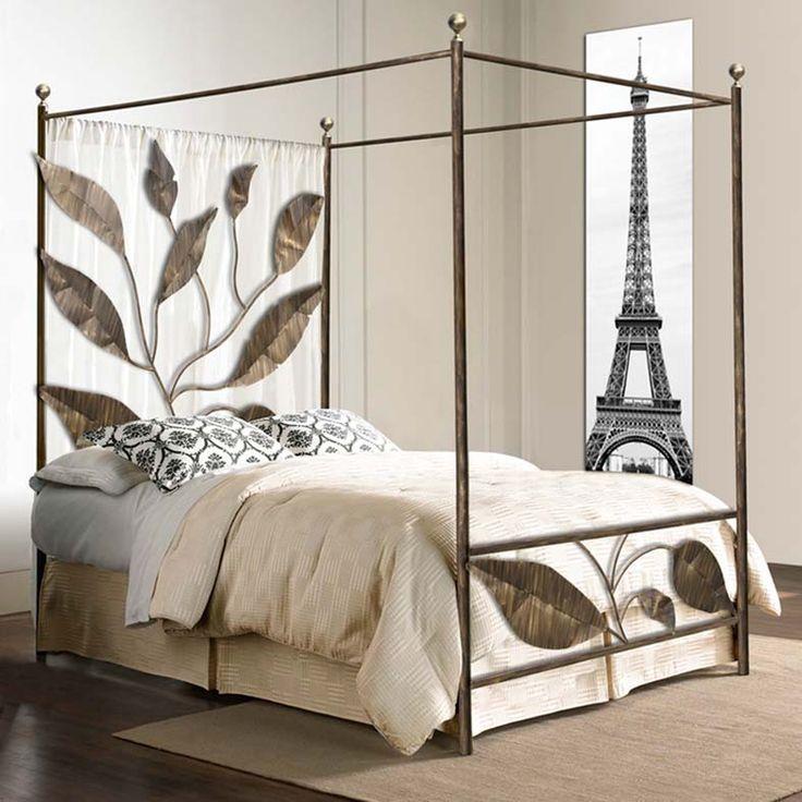 Lit à baldaquin en fer forgé modèle HOJAS. Décoration Beltran, votre magasin lits à baldaquin online.