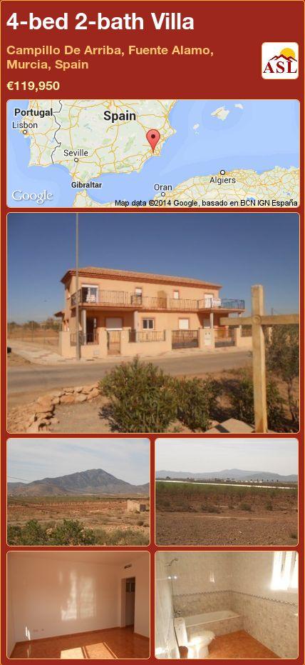 4-bed 2-bath Villa in Campillo De Arriba, Fuente Alamo, Murcia, Spain ►€119,950 #PropertyForSaleInSpain