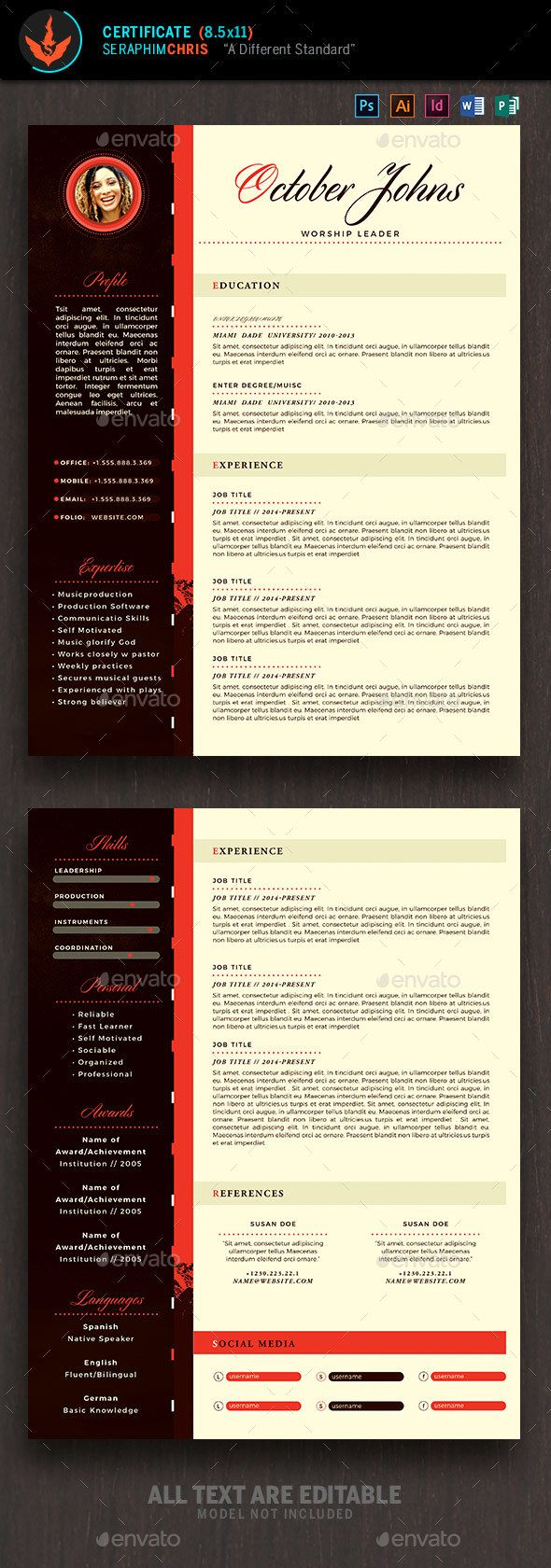 King Modern Church Resume Template 1563 best
