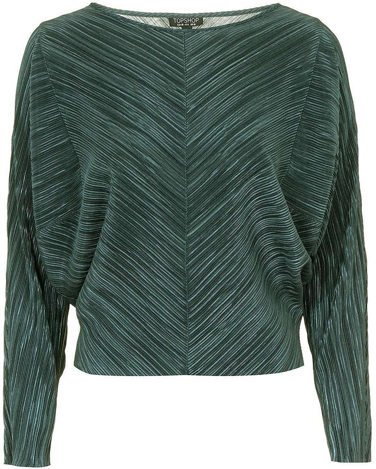 Womens bottle green pleat batwing top - sage, sage from Topshop - £28 at ClothingByColour.com