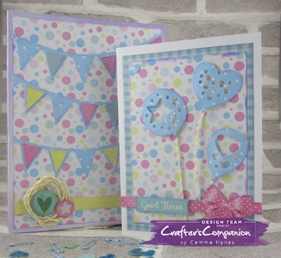 Six card box set made using Sara's birthday party collection #crafterscompanion