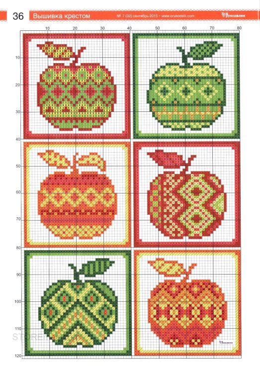 Funky Apple cross stitch chart 1