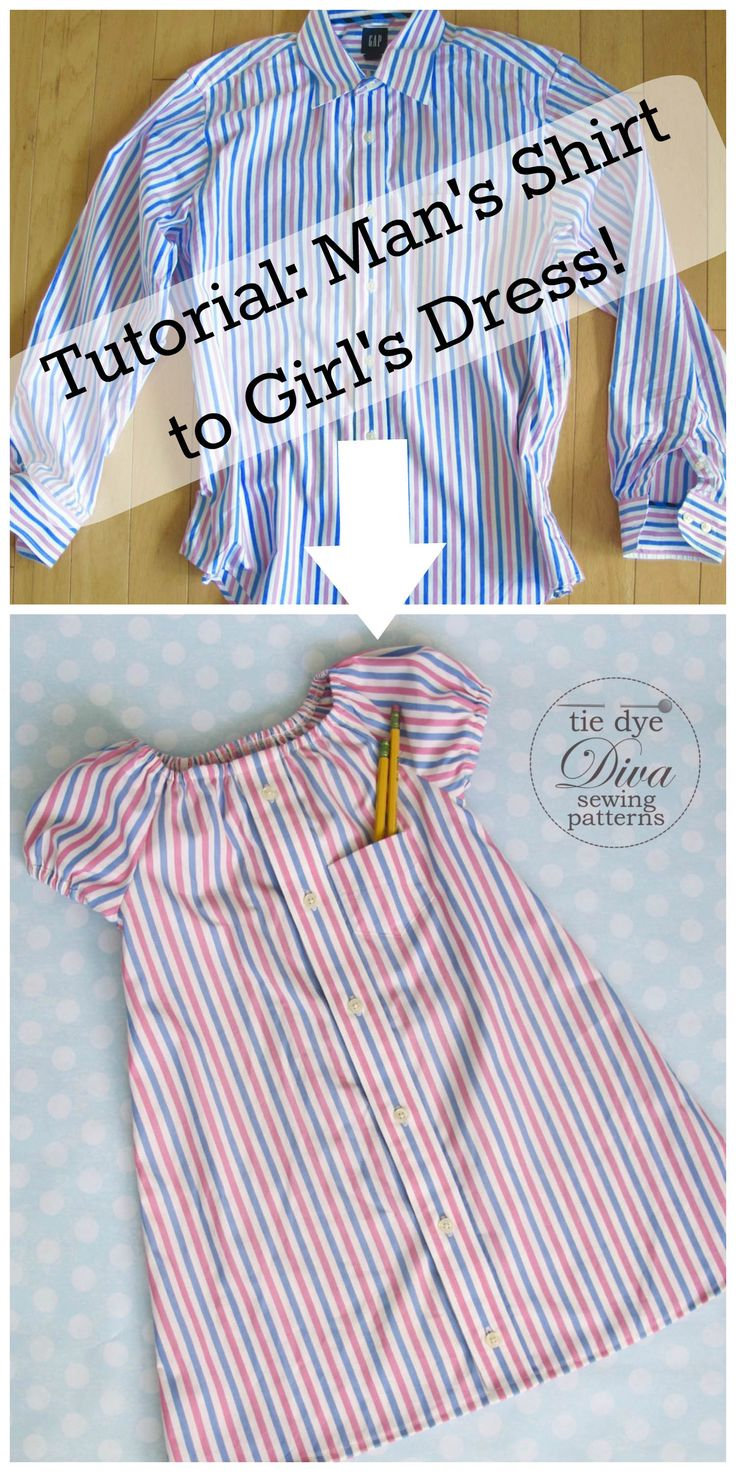 """It's so easy to upcycle a man's dress shirt into a peasant dress! Here's how. You'll need: Man's dress shirt. Peasant dress pattern like Easy Peasy Peasant Dress pattern Elastic The Easy Peasy Peasant Dress pattern is available on our website in size ranges 0-3 months through 18-24 months and 2/3 years through 9/10 years, … Continue reading """"Man's Dress Shirt to Girl's Peasant Dress Upcycle"""""""