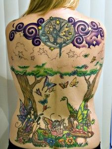 awesome tattoo design on full back for elegant women � fairy tattoos