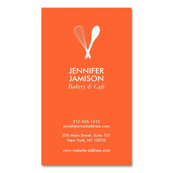 MODERN WHISK and SPOON LOGO on ORANGE Business Card. I love this design! It is available for customization or ready to buy as is. All you need is to add your business info to this template then place the order. It will ship within 24 hours. Just click the image to make your own!