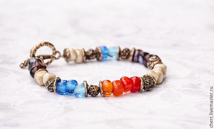 Купить Скидка! Осенний карнавал - браслет лэмпворк - разноцветный, алый, голубой, бронза, браслет, лэмпворк