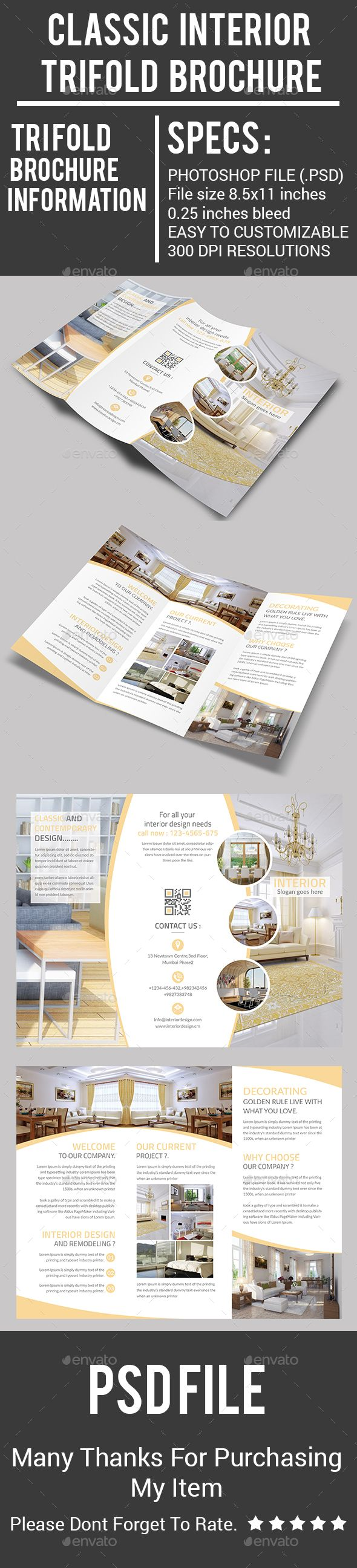 Classic Interior Trifold Brochure Design Template - Corporate Brochures Template...