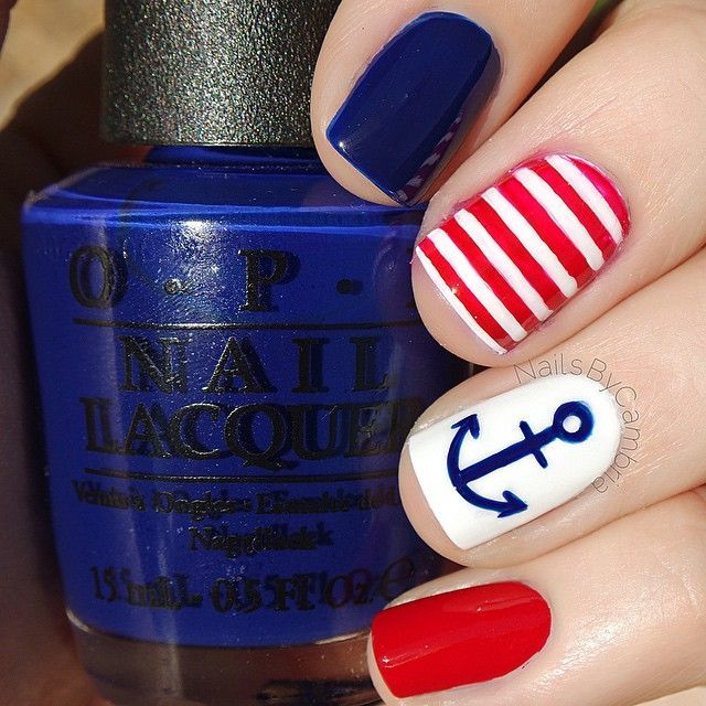 ❤️⚓️Nautical nails!⚓️❤️ I came up with a second anchor manicure that I will post next. I can't decide which I like better so let me know what you think! Products used: @opi_products 'Umpires Come Out At Night' 'OPI Red' and 'Alpine Snow' @sechenails Seche Vite from @hbbeautybar❤️