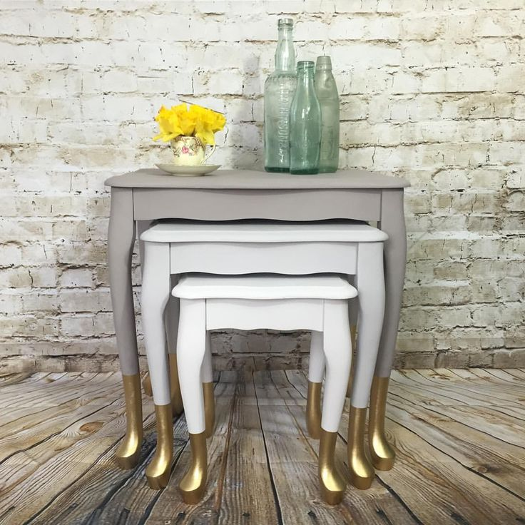 "BCreative_UK on Instagram: ""Finished article. #handpainted #tables using 3 shades of @duluxuk with gold dipped feet using @makeitrustoleum spray paint."""