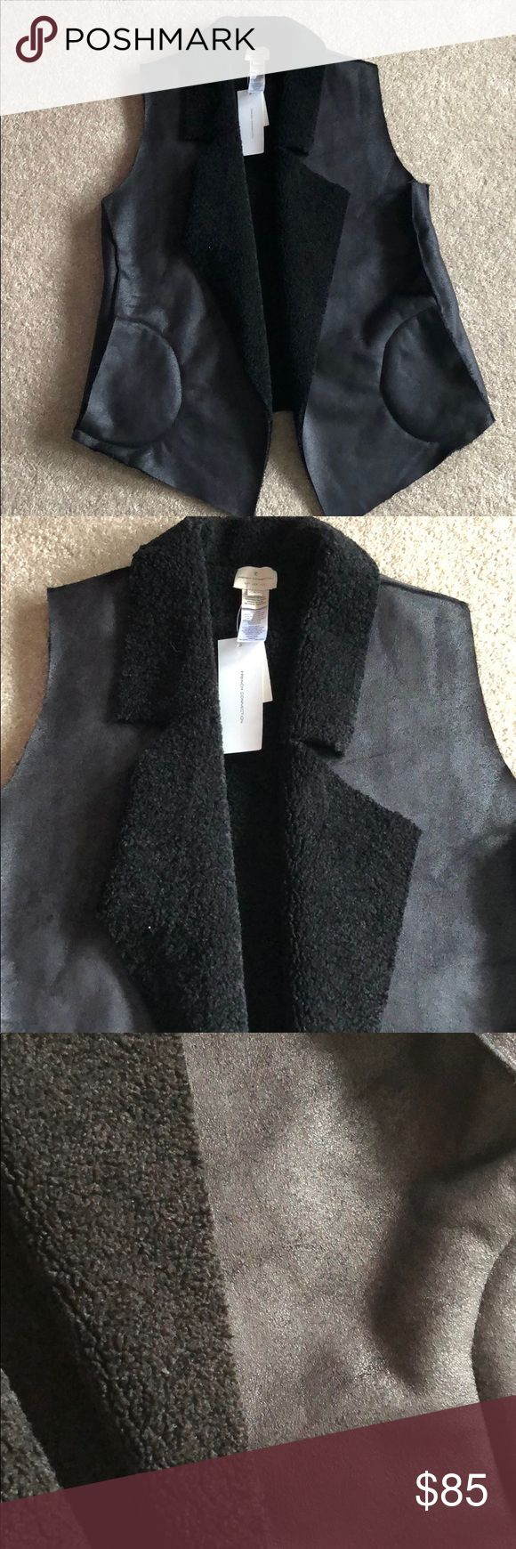 French Connection Shearling Vest NWT Black Side pockets French Connection Jackets & Coats Vests