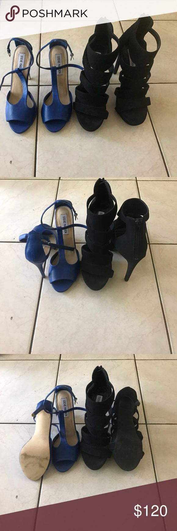 Steve Madden blue and black heels size 8 Steve Madden blue and black heels ready to wear for a night out in the town . Heels have been worn before , but in great condition . This is a bundle deal two heels for the price of one. 💃🏻🔥🔥🔥🔥 Steve Madden Shoes Heels