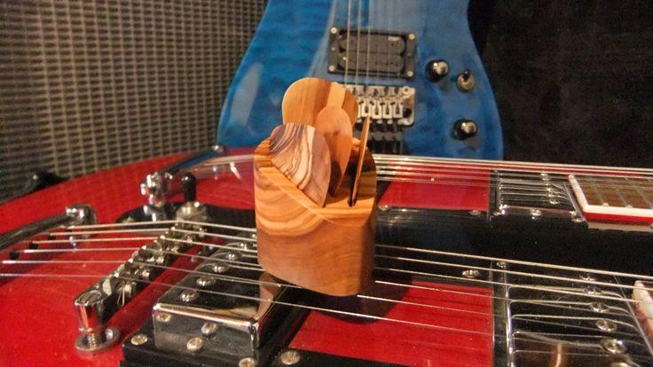 Guitar Picks gift set, 4 olive wood plectrums with plectrum shaped pick holder by ellenisworkshop on Etsy