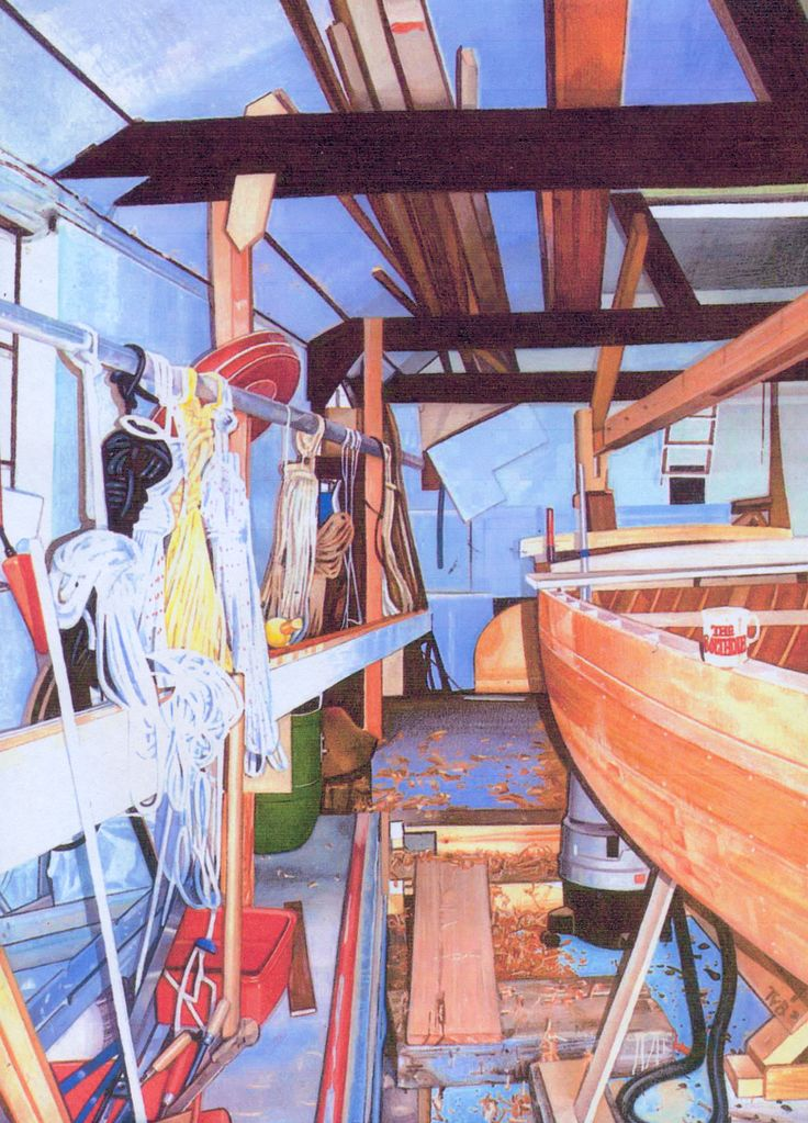 The boat shed. Watercolour.