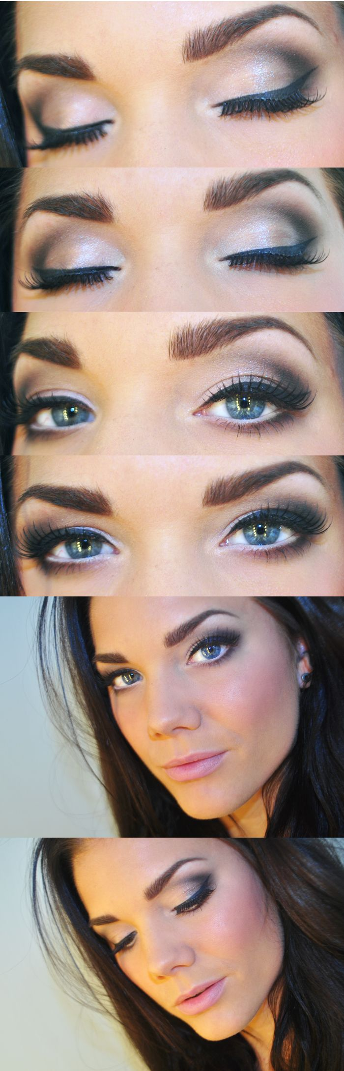 i like this look... smokey but not over done-I'd do golds and dark brown for blue eyes
