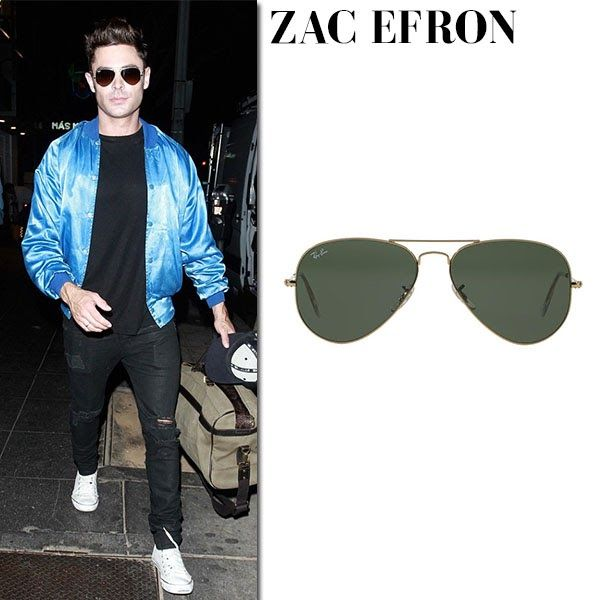 Zac Efron with classic Ray Ban aviator sunglasses ~ Steal His Outfit