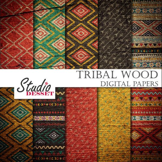 Tribal Wood Papers, Ethnic Patterns, Aztec Arrows Papers, Geometric triangles in red and blue, Backgrounds for Websites, Blog, Cards A306