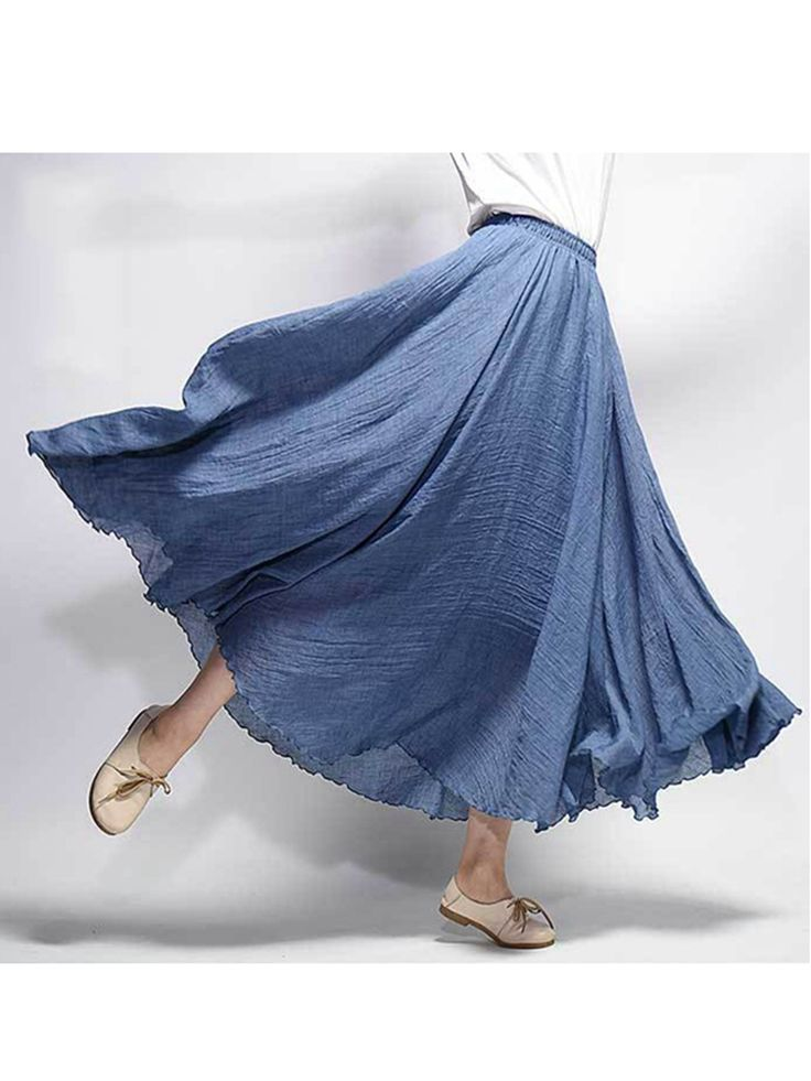 Gracila Women Casual Loose Cotton Pure Color Skirts