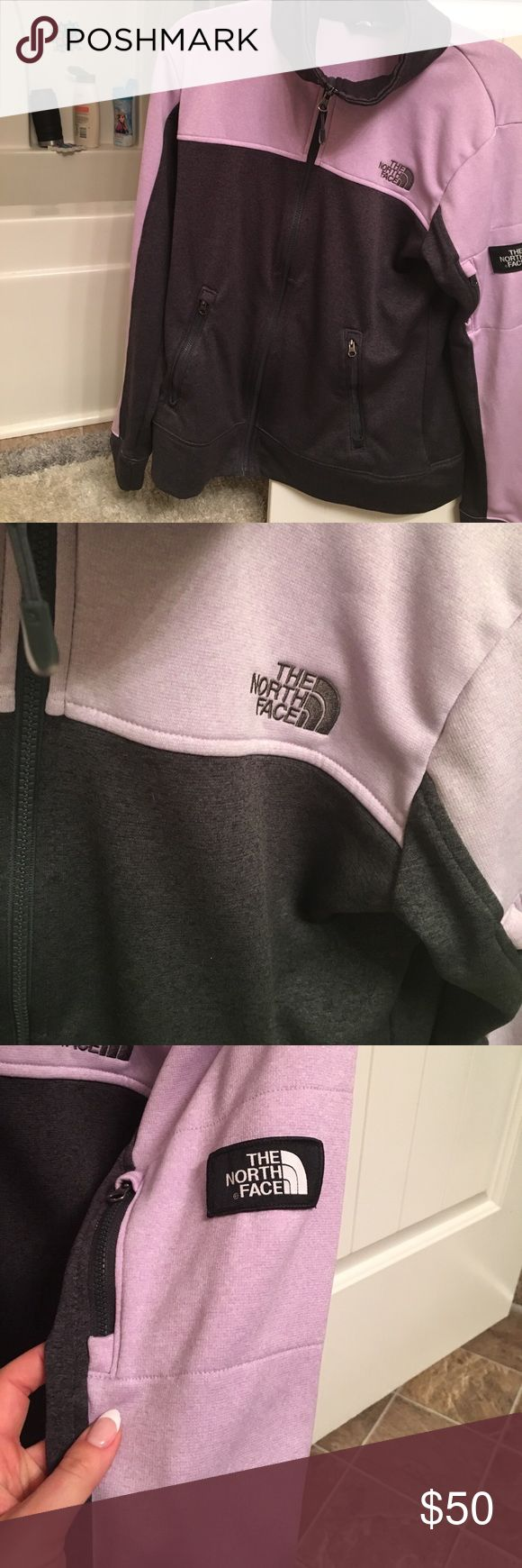 The North Face Mayzie Mays Full Zip Fleece Jacket Brand new never worn. Tags are not attached but I still have them. Super comfortable awesome jacket The North Face Women's Mayzie Mays Full Zip Fleece Jacket - discontinued COLOR: Tnf Dark Grey Heather/Lupine  FEATURES:  Full zip fleece jacket Slim fit Oversized collar Side zip pockets Small zippered pocket on left arm Special Edition logo patch on left arm Brand: The North Face Country of Origin: Imported Fabric Content: 100% polyester…