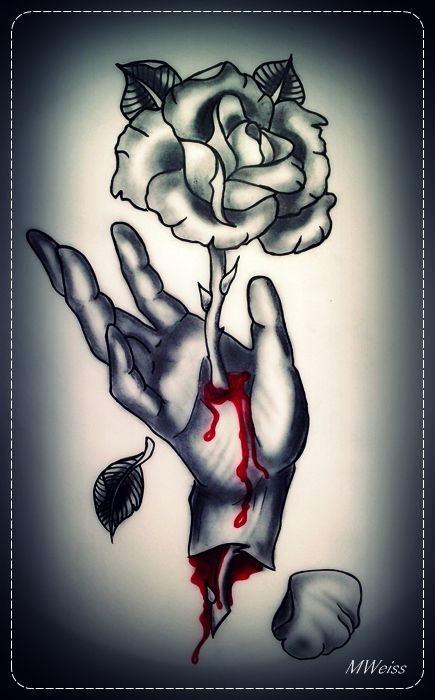 bleeding hand with rose tattoo flash by oldskulllovebymw on deviantart tattoo inspirations. Black Bedroom Furniture Sets. Home Design Ideas