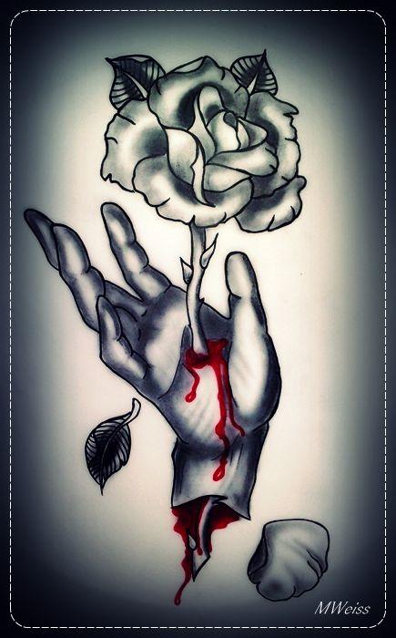 bleeding hand with rose tattoo flash by oldskulllovebymw on deviantart tattoo inspirations. Black Bedroom Furniture Sets. Home Design Ideas