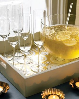 Line a Drink Tray: colorful or metallic wrapping paper to make a set of party-worthy tray liners for serving drinks.