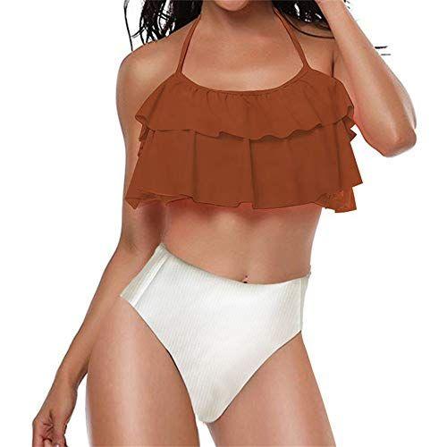 71f9a487ee88 Caslia Women Retro Flounce High Waisted Bikini Halter Neck Two Piece  Swimsuit for Teen Girls,